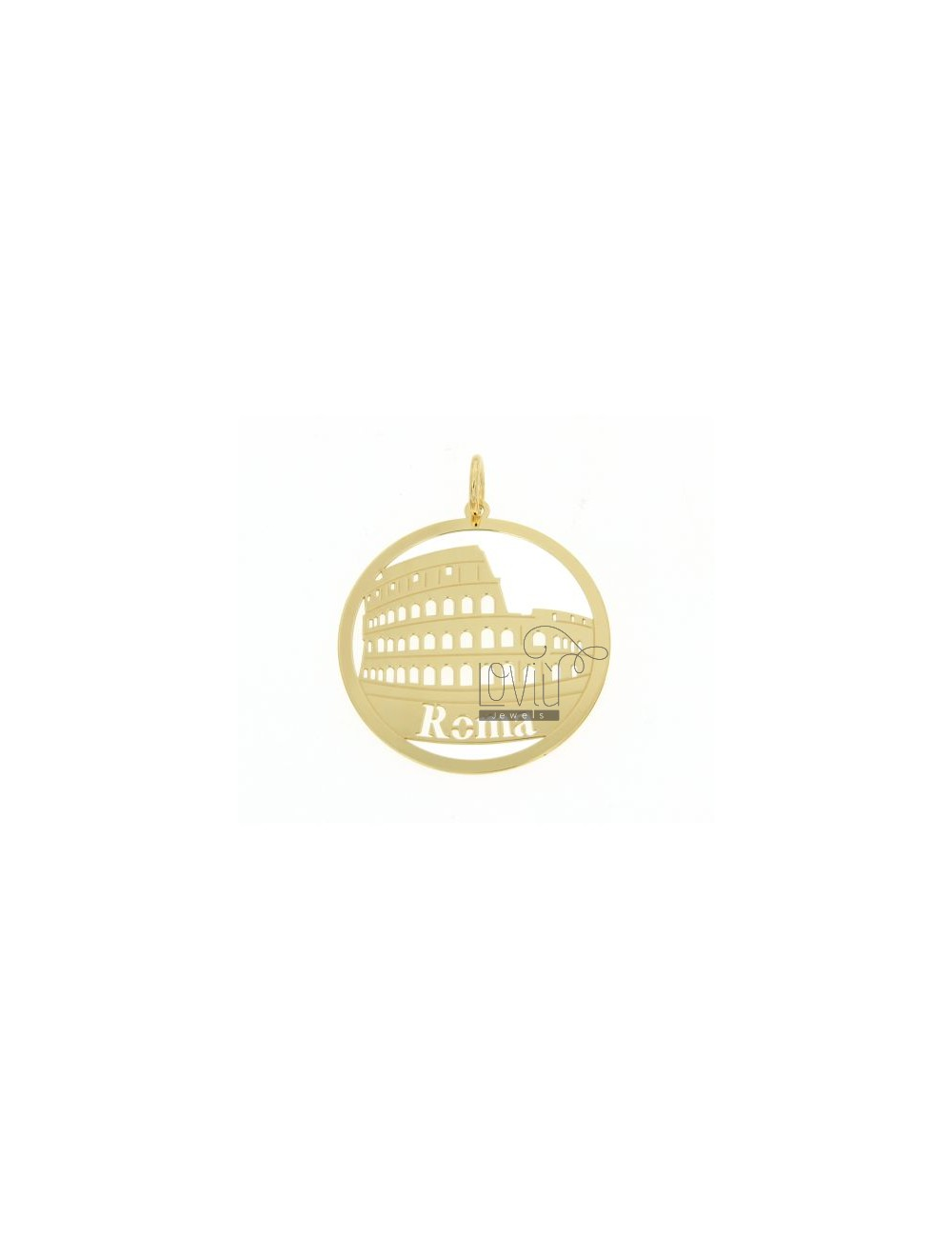 CHARM ROUND LASER CUTTING 40 MM IN ROME AG GOLD PLATED TIT 925 ‰