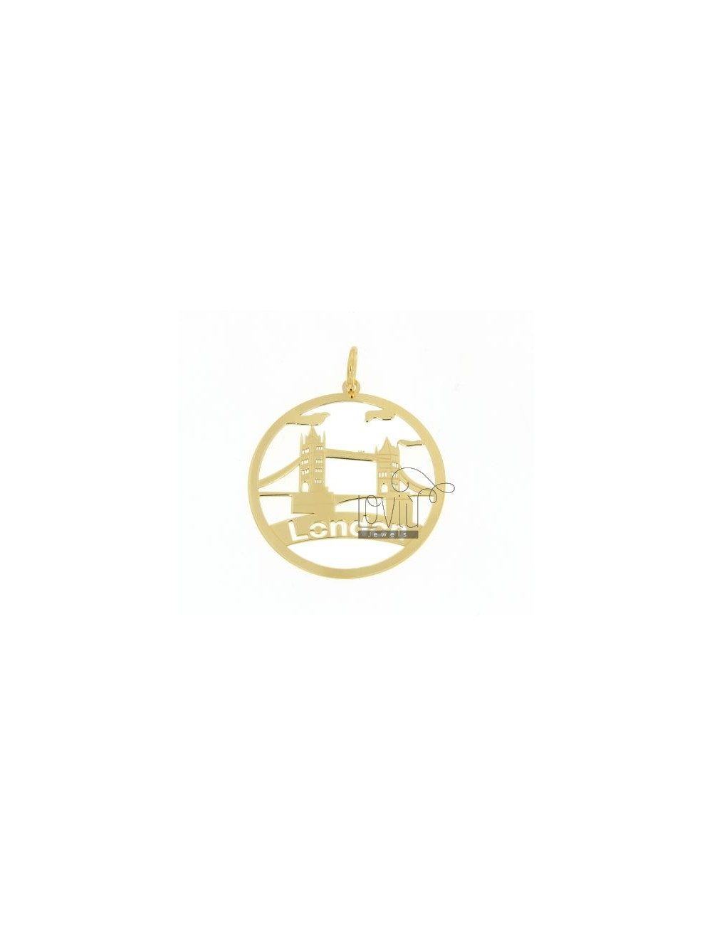 CHARM ROUND LASER CUTTING 40 MM IN LONDON GOLD PLATED AG TIT 925 ‰