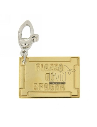PENDANT PLATE ROAD FAMOUS &quotSPANISH&quot MM 25x17 AG IN HOOK RHODIUM PLATED GOLD AND TIT 925