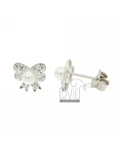 LOBO BOW EARRINGS RHODIUM AG TIT 925 ‰ STRASS, RESIN AND PEARL
