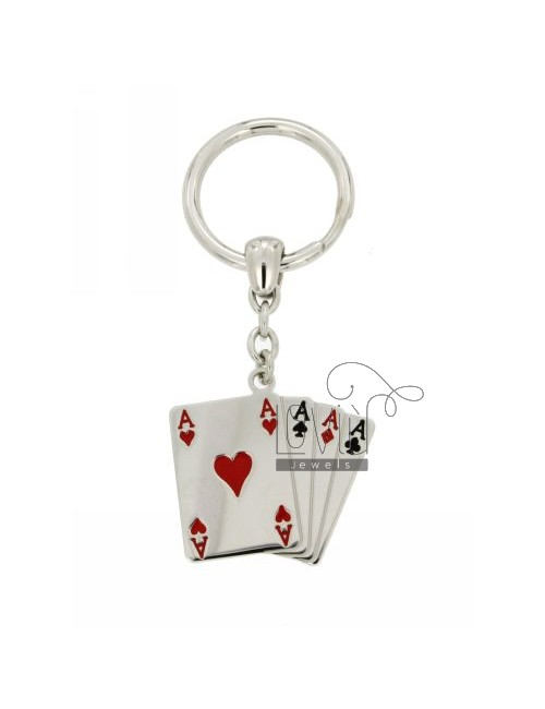 KEY PLAYING CARDS IN RHODIUM AG TIT 925 ‰ AND ENAMEL