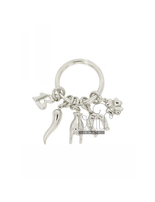 KEY HOLDER WITH PENDANTS RHODIUM AG superstitious IN TIT 925 ‰