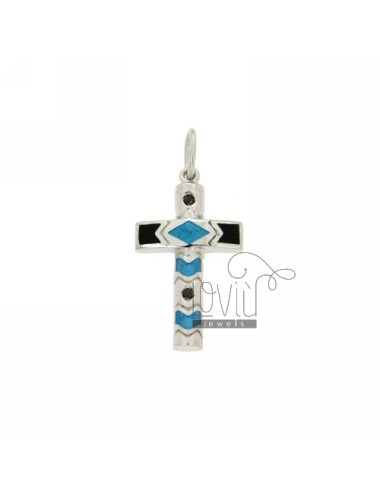 CROSS PENDANT ENAMELED IN RHODIUM AG TIT 925