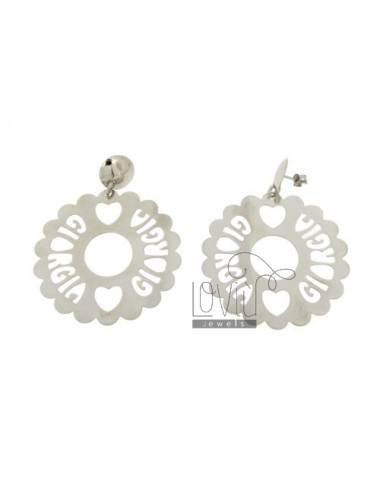 EARRINGS CUSTOM DOUBLE CIRCLE SCALLOPED MM 13.50 AS TRAFORATO IN AG TIT RHODIUM 925