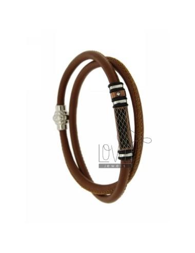 5 mm bracelet brown leather...