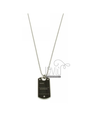 MILITARY MEDAL WITH INTERNAL STEEL 40x22 MM RUTENIO PLATED CHAIN &8203&8203WITH BALLS 50 MM 2.5 CM
