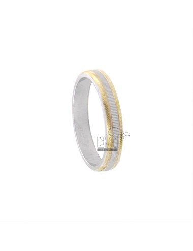 FEDINA RING 34 MM WITH VERTICAL DIAMOND INSIDE RHODIUM PLATED AND POLISHED GOLD EDGED EDGES IN AG TIT 925 ‰ MIS 20