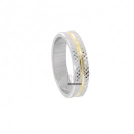 FEDINA RING 42 MM WITH DIAMOND INTERIOR PLATED GOLD AND RHODIUM-PLATED DIAMOND EDGES IN AG TIT 925 URA SIZE 11