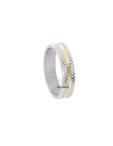 FEDINA RING 42 MM WITH DIAMOND INTERIOR PLATED GOLD AND RHODIUM-PLATED DIAMOND EDGES IN AG TIT 925 URA SIZE 18