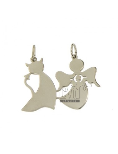 CHARM ANGEL AND DEVIL DIVIDED IN SILVER 925 ‰