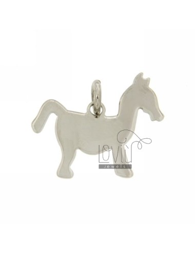 CHARM PONY 22x20 MM LASER CUTTING IN SILVER RHODIUM 925