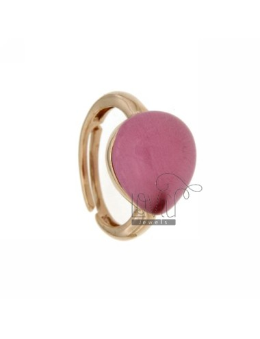 RING WITH DROP MM 1,4 X1, 2 PINK ROSE GOLD PLATED 16 IN AG TIT 925 SIZE ADJUSTABLE