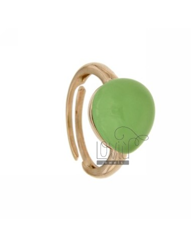 RING WITH DROP MM 1,4 X1, 2 GREEN WATER IN 4 AG ROSE GOLD PLATED ADJUSTABLE SIZE TIT 925