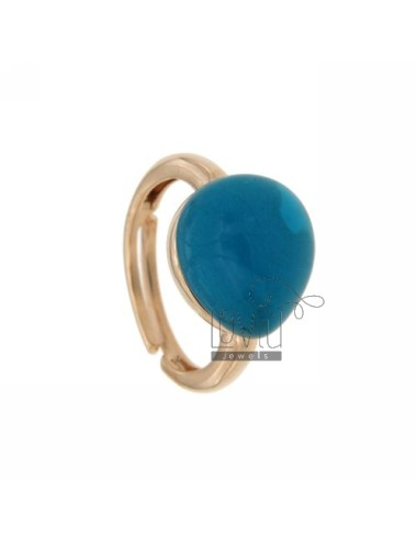 RING WITH DROP MM 1,4 X1, 2 TURQUOISE AG 65 IN ROSE GOLD PLATED ADJUSTABLE SIZE TIT 925
