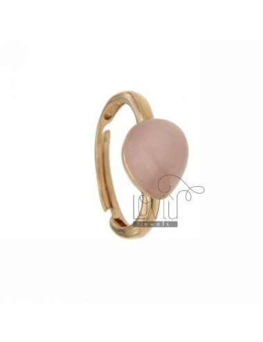 HYDROTHERMAL STONE RING WITH PINK PEARL DROP 1 MM 11P AG IN ROSE GOLD PLATED ADJUSTABLE SIZE TIT 925