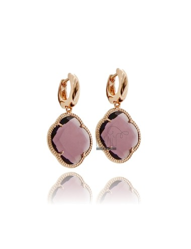 BEAD EARRINGS IN ROSE GOLD PLATED AG TITLE AND FLOWER pedente 925 BIG STONE HYDROTHERMAL 13 COLOR PURPLE AND PINK GOLD PLATED AG