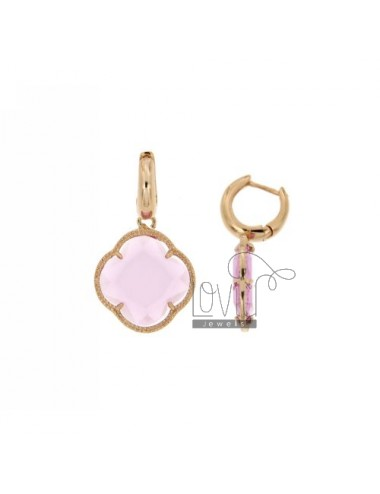 BEAD EARRINGS IN ROSE GOLD PLATED AG 925 TITLE AND FLOWER pedente HYDROTHERMAL BIG STONE COLOR PINK PINK PINK GOLD PLATED 50 E A