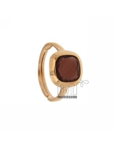 11X11 MM SQUARE RING WITH STONE IN 13 AG HYDROTHERMAL PURPLE ROSE GOLD PLATED TIT 925