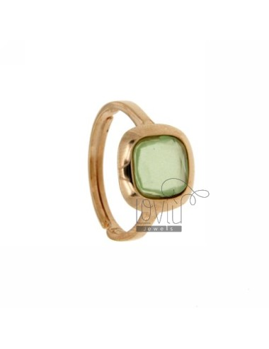 11X11 MM SQUARE RING WITH STONE HYDROTHERMAL 4 IN PASTEL GREEN ROSE GOLD PLATED AG TIT 925