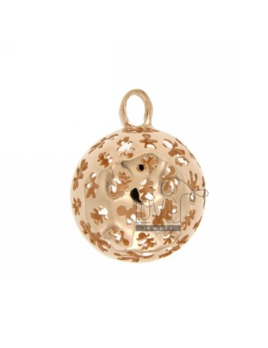 PENDANT 23 MM WITH ANGELS TALK CHILDREN IN PERFORATED AG ROSE GOLD PLATED TIT 925