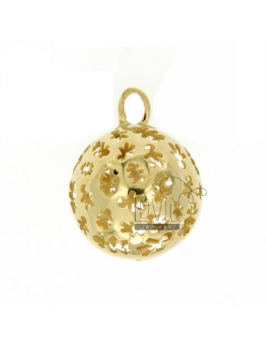 PENDANT 23 MM WITH ANGELS TALK CHILDREN IN PERFORATED GOLD PLATED AG TIT 925