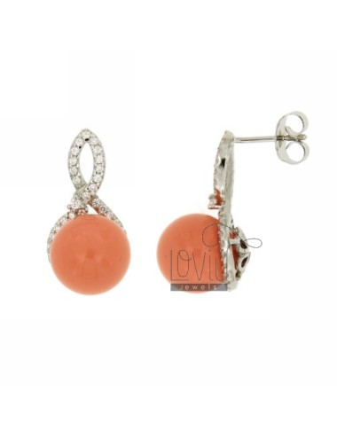 BALL EARRINGS IN PINK CORAL...
