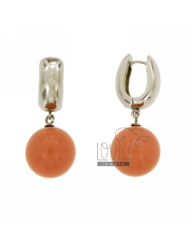ORECCHINI SCATTINO CON SFERA IN PASTA DI CORALLO ROSA MM 14 IN AG RODIATO TIT 925