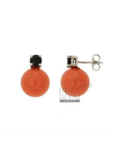 EARRINGS WITH BALL IN CORAL...