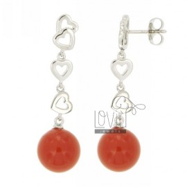 DOUGH BALL EARRINGS CORAL RED 12 MM IN RHODIUM AG TIT 925