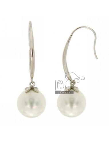 Pearl earrings 14 mm in...