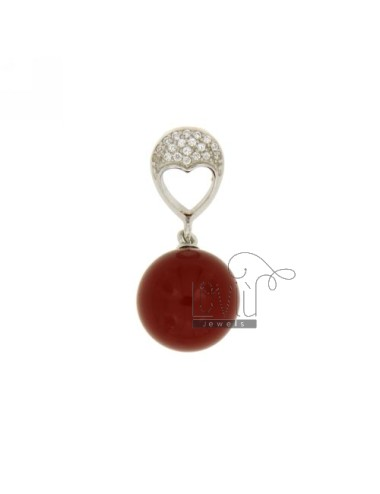 PENDANT SPHERE IN RED CORAL...