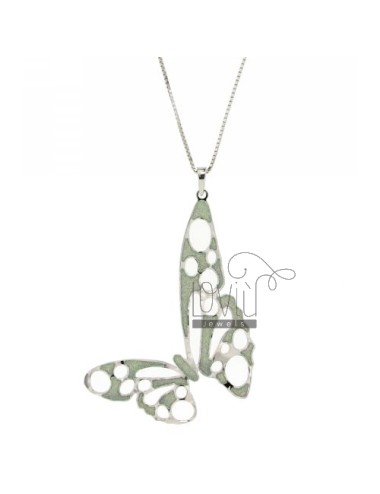 VENETIAN NECKLACE 70 CM WITH BUTTERFLY PENDANT WITH RHODIUM IN BRONZE GLITTER