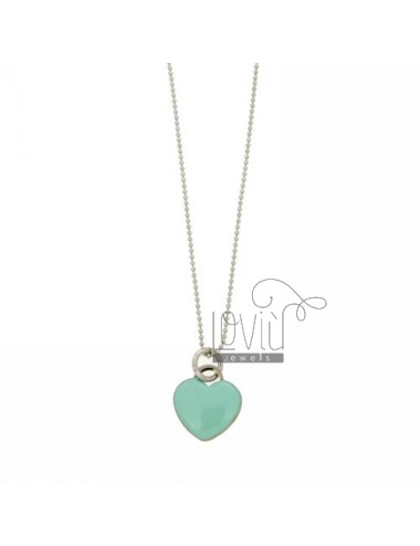 BALL NECKLACE WITH HEART PENDANT faceted 17x15 MM WITH GREEN ENAMEL TIFFANY IN RHODIUM AG TIT 925 CM 90