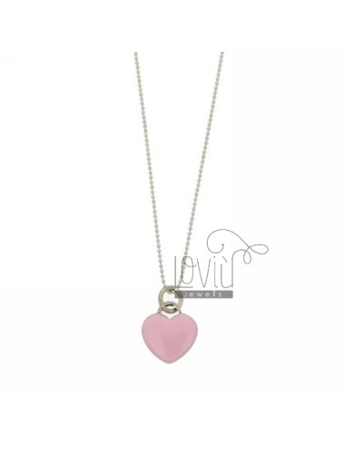 BALL NECKLACE WITH HEART PENDANT faceted 17x15 MM WITH PINK NAIL POLISH IN RHODIUM AG TIT 925 CM 90