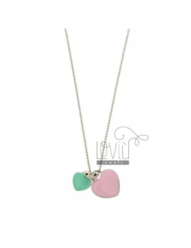 BALL PENDANT WITH CHAIN &8203&8203faceted 2 HEARTS AND MM 12X10 MM 17x15 WITH GREEN ENAMEL AND TIFFANY IN PINK RHODIUM AG TI