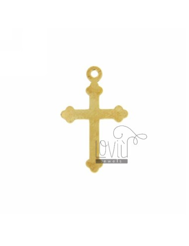 CROSS PENDANT WITH POINTS WITHOUT MAGLINA 17x11 MM A SMOOTH PLATE SILVER GOLD PLATED TIT 925