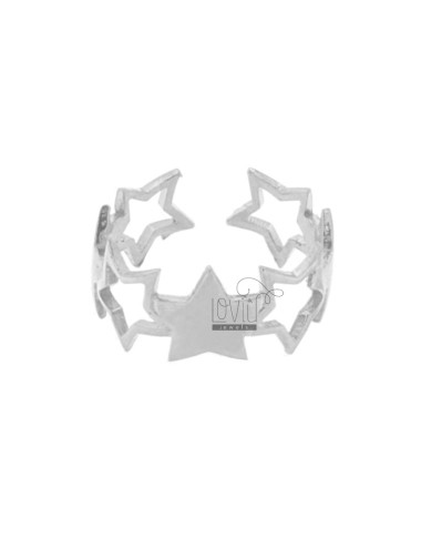 BAND RING RHODIUM SILVER STARS perforated 925 SIZE ADJUSTABLE