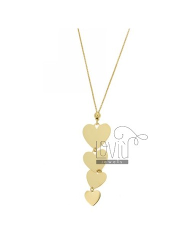 CABLE NECKLACE WITH HEART PENDANT 4 DEGRADE &39A PLATE IN GOLD PLATED AG TIT 925 CM AND 45 TO 50 ESTENDIDIL