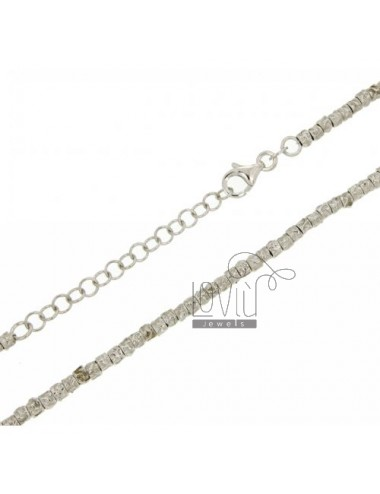 NUGGETS NECKLACE WITH A CYLINDER 3X3 MM IN RHODIUM AG TIT 925 CM AND 45 TO 50 ESTENDIBIL