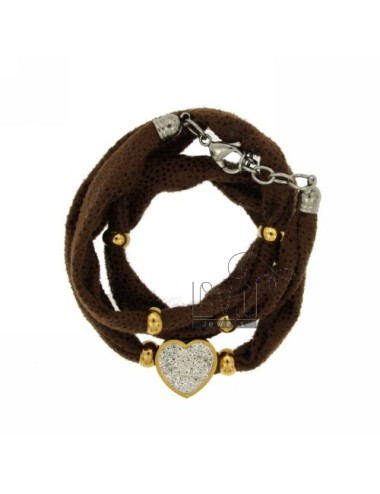 Bracciale in licra marrone...