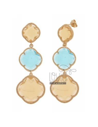 THREE FLOWERS EARRINGS WITH STONES DEGRADE HYDROTHERMAL OCRA MATT COLOR YELLOW, BLUE AND YELLOW MATT MATT OCRA 31.59.31 AG IN RO