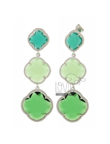 THREE FLOWERS EARRINGS WITH STONES DEGRADE HYDROTHERMAL EMERALD GREEN, GREEN AND PASTEL GREEN BOTTLE IN 10/04/40 AG RHODIUM TIT
