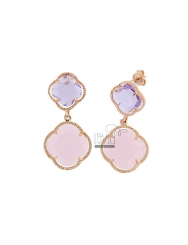 DOUBLE FLOWER EARRINGS SMALL ROSE TRANSPARENT LOAD 50 LARGE MATT ROSE 11 IN ROSE GOLD PLATED AG TIT 925 ‰ AND HYDROTHERMAL STONE