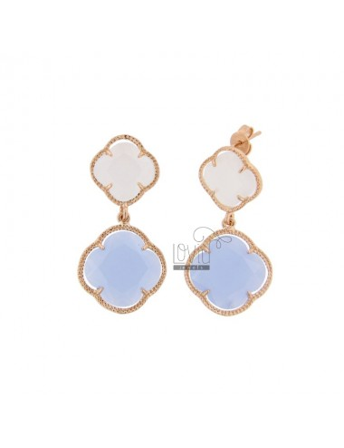 DOUBLE SMALL FLOWER EARRINGS MATT WHITE 8 LARGE SUGAR PAPER 28 IN ROSE GOLD PLATED AG TIT 925 ‰ AND HYDROTHERMAL STONES