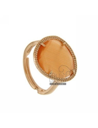 SMALL STONE RING WITH STONE HYDROTHERMAL ORANGE PEARL 6P AG IN ROSE GOLD PLATED TIT 925