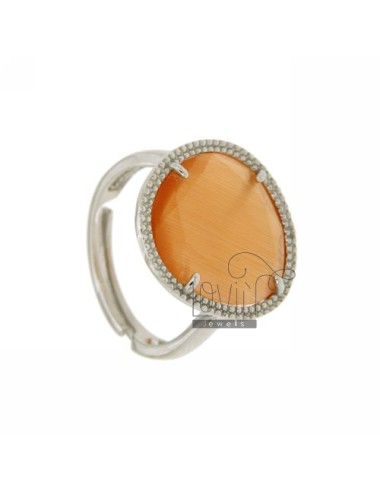 SMALL STONE RING WITH STONE HYDROTHERMAL ORANGE PEARL IN 6P AG RHODIUM TIT 925