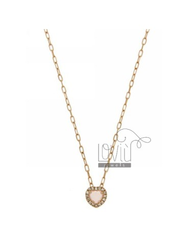 CHAIN &8203&8203CABLE 45 CM WITH PENDANT WITH STONE CUORICINO HYDROTHERMAL PINK BORDER AND 11 IN zirconate AG ROSE GOLD PLAT