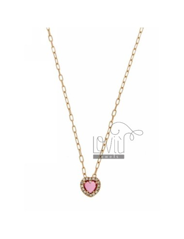 CHAIN &8203&8203CABLE 45 CM WITH PENDANT WITH STONE CUORICINO HYDROTHERMAL 16 RED PINK AND BORDER zirconate AG IN ROSE GOLD