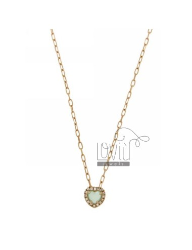 CHAIN &8203&8203CABLE 45 CM WITH PENDANT WITH STONE CUORICINO HYDROTHERMAL 20 TIFFANY GREEN AND BORDER zirconate AG IN ROSE