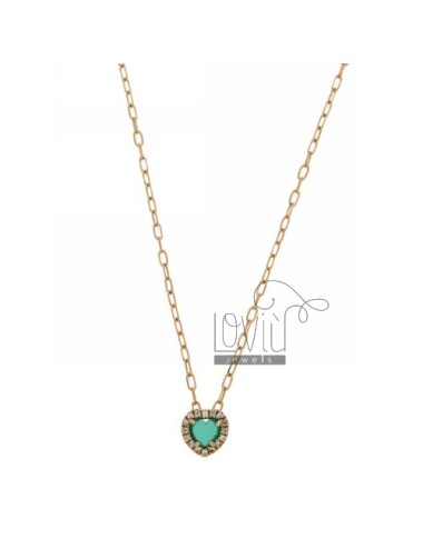CHAIN &8203&8203CABLE 45 CM WITH PENDANT WITH STONE CUORICINO HYDROTHERMAL 40 EMERALD AND BORDER zirconate AG IN ROSE GOLD P
